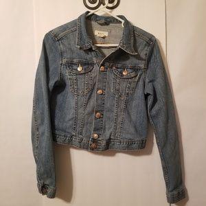 H & M Cropped Denim Jean Jacket Sz 12 Adjust Waist